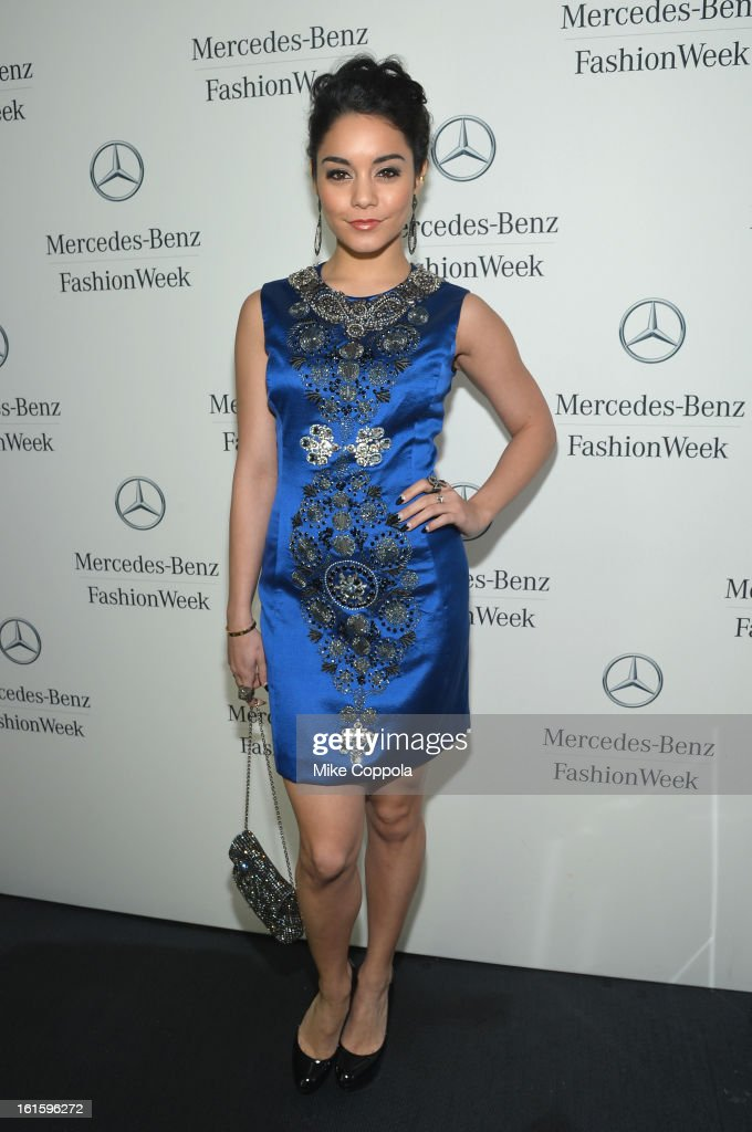 Actress Vanessa Hudgens attends the Mercedes-Benz Star Lounge during Mercedes-Benz Fashion Week Fall 2013 at Lincoln Center on February 12, 2013 in New York City.