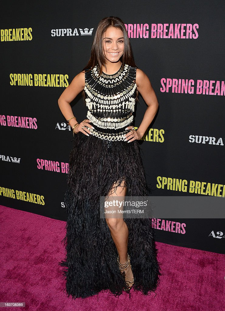 Actress Vanessa Hudgens attends the 'Spring Breakers' premiere at ArcLight Cinemas on March 14, 2013 in Hollywood, California.