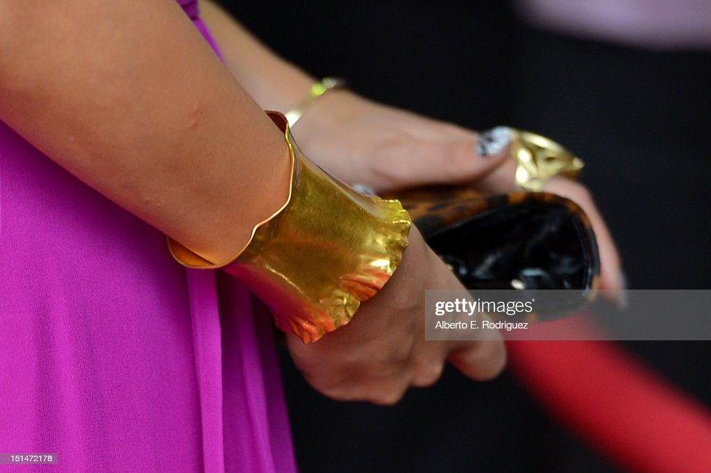 Actress Vanessa Hudgens (jewelry detail ) attends the'Spring Breakers' premiere during the 2012 Toronto International Film Festival at Ryerson Theatre on September 7, 2012 in Toronto, Canada.