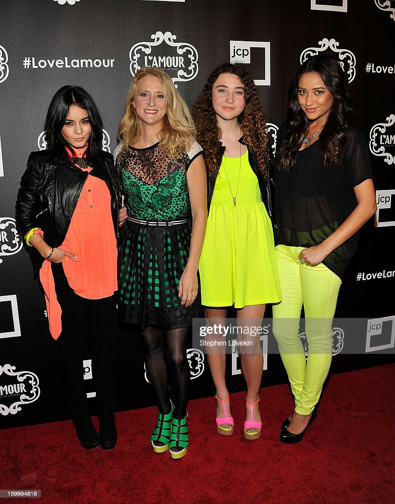 Actress Vanessa Hudgens, designer Nanette Lepore, Violet Lepore, and actress Shay Mitchell attend the L'Amour by Nanette Lepore for JCPenney launch party at Good Units at Hudson Hotel on January 24, 2013 in New York City.