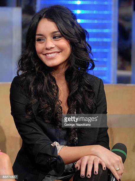 Actress Vanessa Hudgens visits MTV's 'TRL' at MTV Studios in Times Square on October 21 2008 in New York City