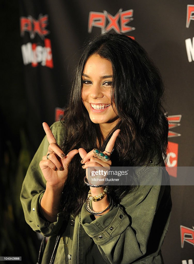 Actress Vanessa Hudges arrives at the 'AXE Music One Night Only' concert series featuring Weezer at Dunes Inn Motel - Sunset on September 21, 2010 in Hollywood, California.