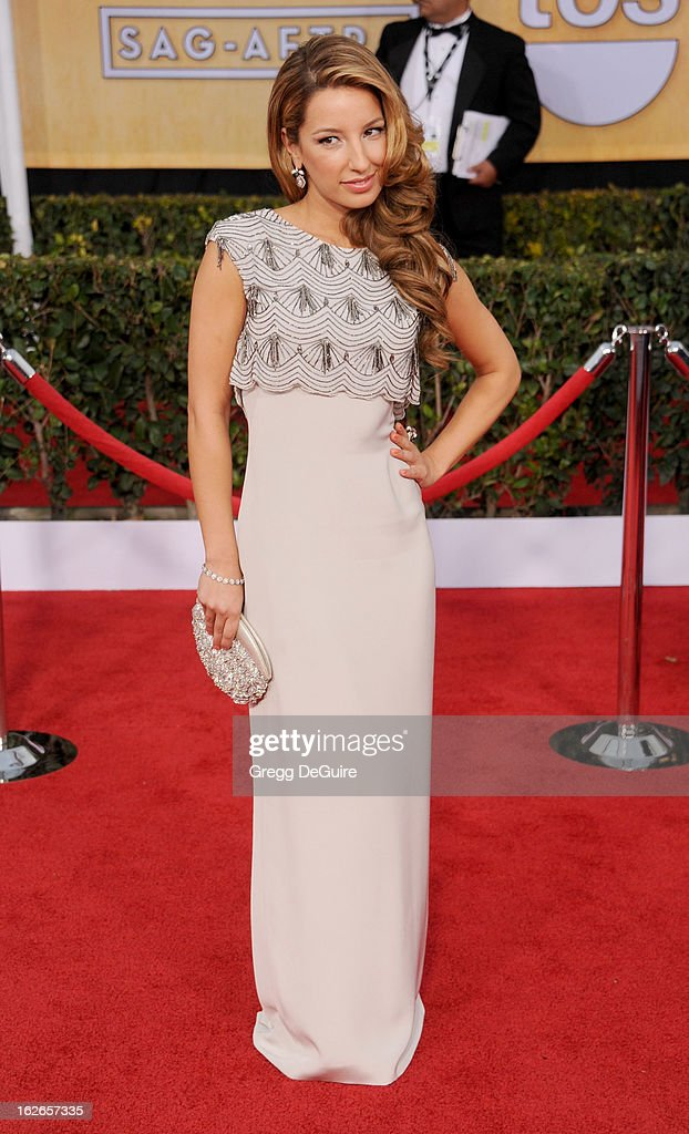 Actress Vanessa Lengies arrives at the 19th Annual Screen Actors Guild Awards at The Shrine Auditorium on January 27, 2013 in Los Angeles, California.