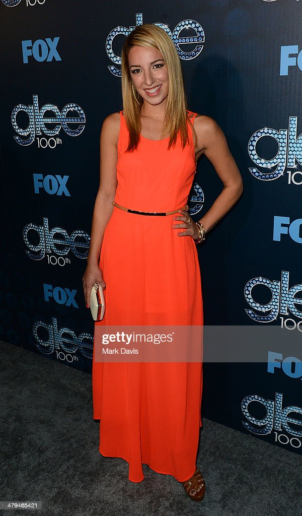 Actress <a gi-track='captionPersonalityLinkClicked' href=/galleries/search?phrase=Vanessa+Lengies&family=editorial&specificpeople=214073 ng-click='$event.stopPropagation()'>Vanessa Lengies</a> attends Fox's 'GLEE' 100th Episode Celebration held at Chateau Marmont on March 18, 2014 in Los Angeles, California.