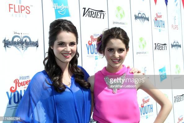 Actress Vanessa Marano and Laura Marano attend Variety's Power of Youth presented by Hasbro Inc and generationOn at Universal Studios Backlot on July...