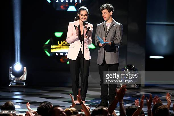 Actress Vanessa Marano and Nolan Gould speak onstage at the 2014 Young Hollywood Awards brought to you by Samsung Galaxy at The Wiltern on July 27...