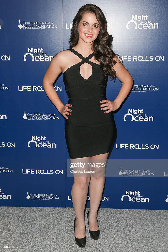 Actress Vanessa Marano arrives at the Life Rolls On foundation's 9th annual 'Night by the Ocean' gala at Ritz Carlton Hotel on November 10, 2012 in Marina del Rey, California.