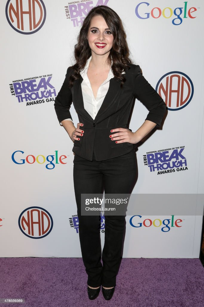 Actress <a gi-track='captionPersonalityLinkClicked' href=/galleries/search?phrase=Vanessa+Marano&family=editorial&specificpeople=851394 ng-click='$event.stopPropagation()'>Vanessa Marano</a> arrives at the National Association Of The Deaf's 1st annual Breakthrough Awards at Hollywood Roosevelt Hotel on March 13, 2014 in Hollywood, California.