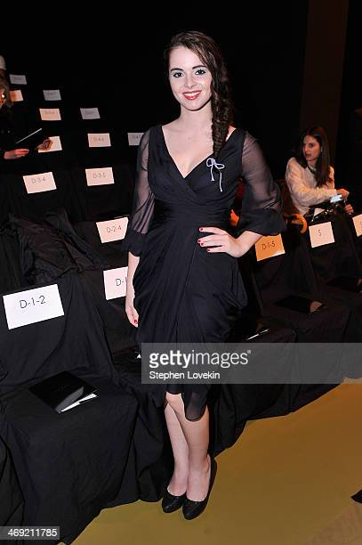 Actress Vanessa Marano attends the J Mendel fashion show during MercedesBenz Fashion Week Fall 2014 at The Theatre at Lincoln Center on February 13...