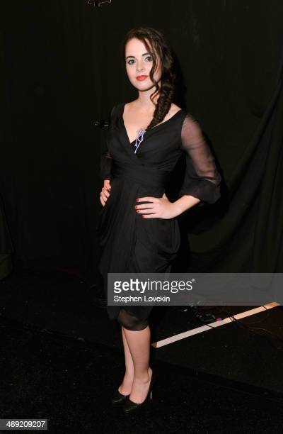 Actress Vanessa Marano poses backstage at the J Mendel fashion show during MercedesBenz Fashion Week Fall 2014 at The Theatre at Lincoln Center on...