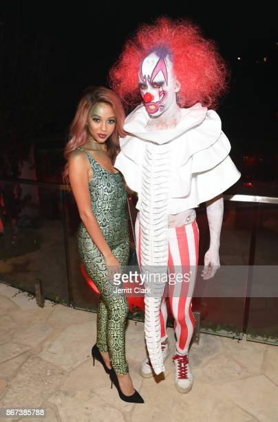 Actress Vanessa Morgan and Jared Eng attend Just Jared's 6th Annual Halloween Party on October 27 2017 in Beverly Hills California
