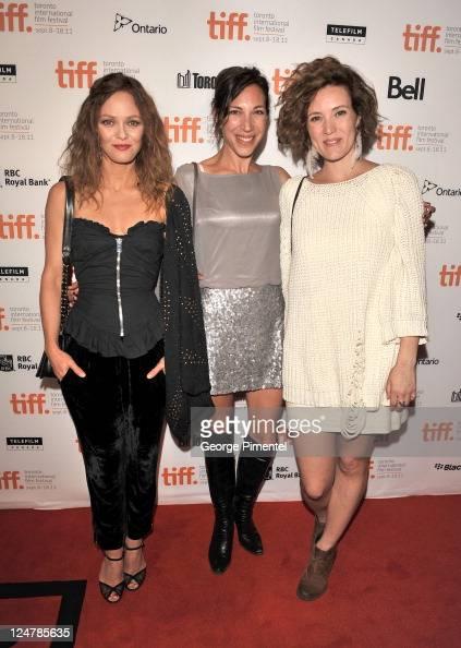 Actress Vanessa Paradis actress Evelyne de la Cheneliere and actress Evelyne Brochu attend the 'Cafe De Flore' Premiere during the 2011 Toronto...
