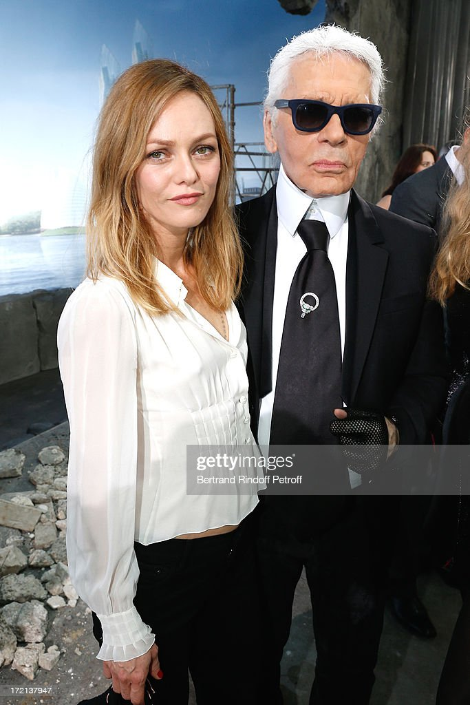 Actress <a gi-track='captionPersonalityLinkClicked' href=/galleries/search?phrase=Vanessa+Paradis&family=editorial&specificpeople=206631 ng-click='$event.stopPropagation()'>Vanessa Paradis</a> and fashion designer Karl Lagerfeld poses after the Chanel show as part of Paris Fashion Week Haute-Couture Fall/Winter 2013-2014 at Grand Palais on July 2, 2013 in Paris, France.