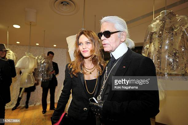 Actress Vanessa Paradis and Karl Lagerfeld attend the Tokyo Ephemeral Boutique Opening Reception at BATSU Art Gallery on March 23 2012 in Tokyo Japan