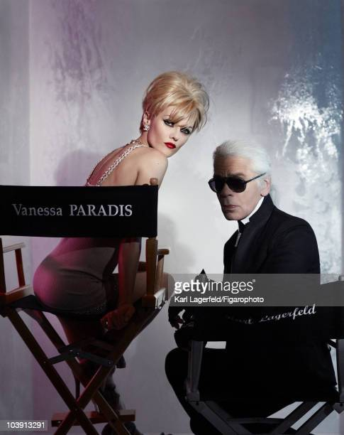 Actress Vanessa Paradis and Karl Lagerfeld in a fashion session for Madame Figaro Magazine inspired by Chanel designer Lagerfeld in 2010 Dress and...