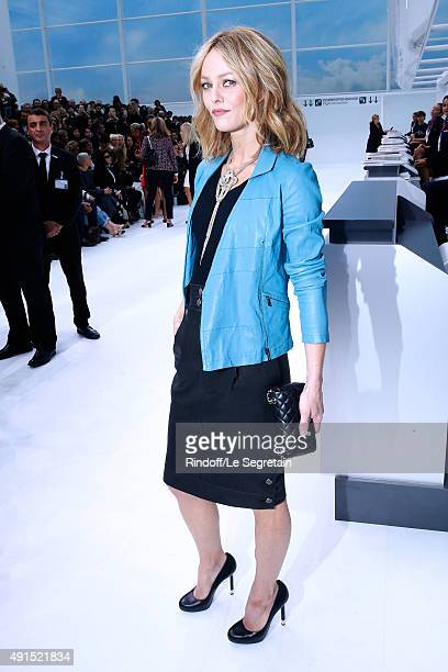 Actress Vanessa Paradis attends the Chanel show as part of the Paris Fashion Week Womenswear Spring/Summer 2016 Held at Grand Palais on October 6...