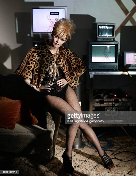 Actress Vanessa Paradis in a fashion session for Madame Figaro Magazine inspired by Chanel designer Karl Lagerfeld in 2010 Vintage bolero by Didier...
