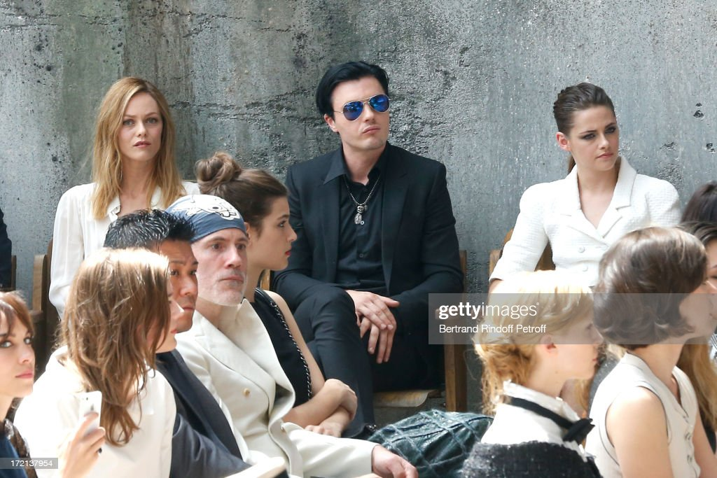 Actress Vanessa Paradis, Michael Pitt and Kristen Stewart attend the Chanel show as part of Paris Fashion Week Haute-Couture Fall/Winter 2013-2014 at Grand Palais on July 2, 2013 in Paris, France.