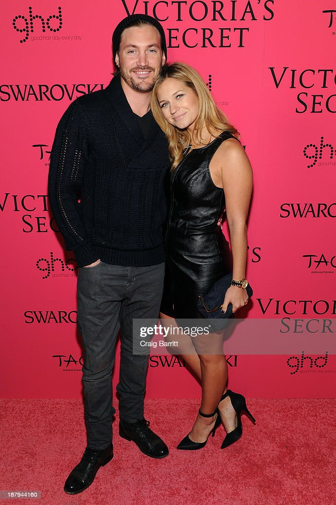 Actress Vanessa Ray (R) and Landon Beard attend the 2013 Victoria's Secret Fashion after party at TAO Downtown on November 13, 2013 in New York City.