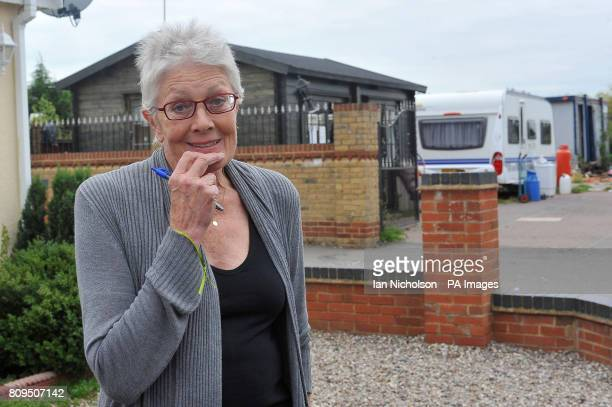 Actress Vanessa Redgrave during a visit to a travellers' site on Dale Farm near Basildon Essex where more than 80 traveller families face eviction