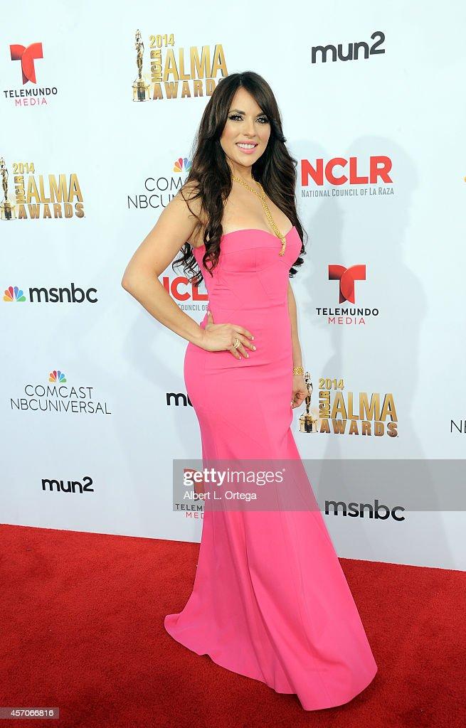 Actress Vanessa Villela arrives for the 2014 NCLR ALMA Awards held at Pasadena Civic Auditorium on October 10 2014 in Pasadena California
