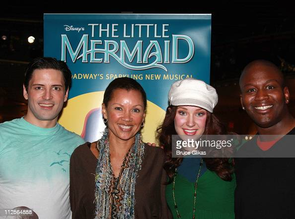 Actress Vanessa Williams poses with actors Sean PalmerSierra Boggess and Titus Burgess as she visits backstage at 'The Little Mermaid' on Broadway at...