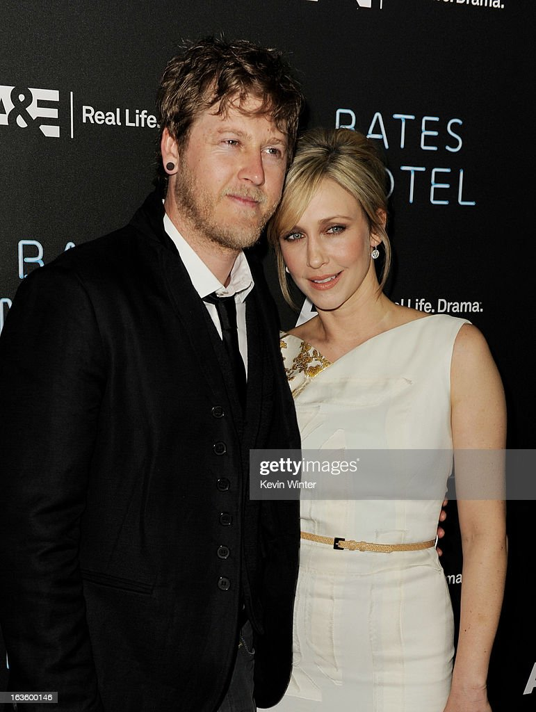Actress Vera Farmiga (R) and her husband Renn Hawkey arrive at the premiere of A&E Network's 'Bates Motel' at Soho House on March 12, 2013 in West Hollywood, California.