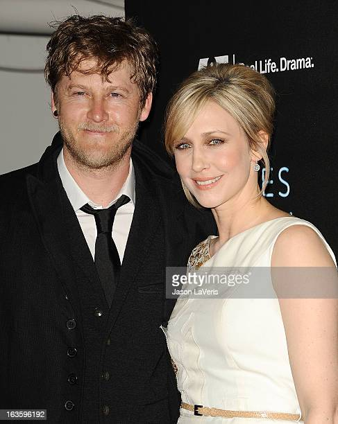 Actress Vera Farmiga and husband Renn Hawkey attend the premiere of 'Bates Motel' at Soho House on March 12 2013 in West Hollywood California