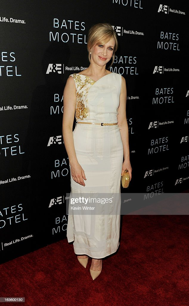 Actress Vera Farmiga arrives at the premiere of A&E Network's 'Bates Motel' at Soho House on March 12, 2013 in West Hollywood, California.