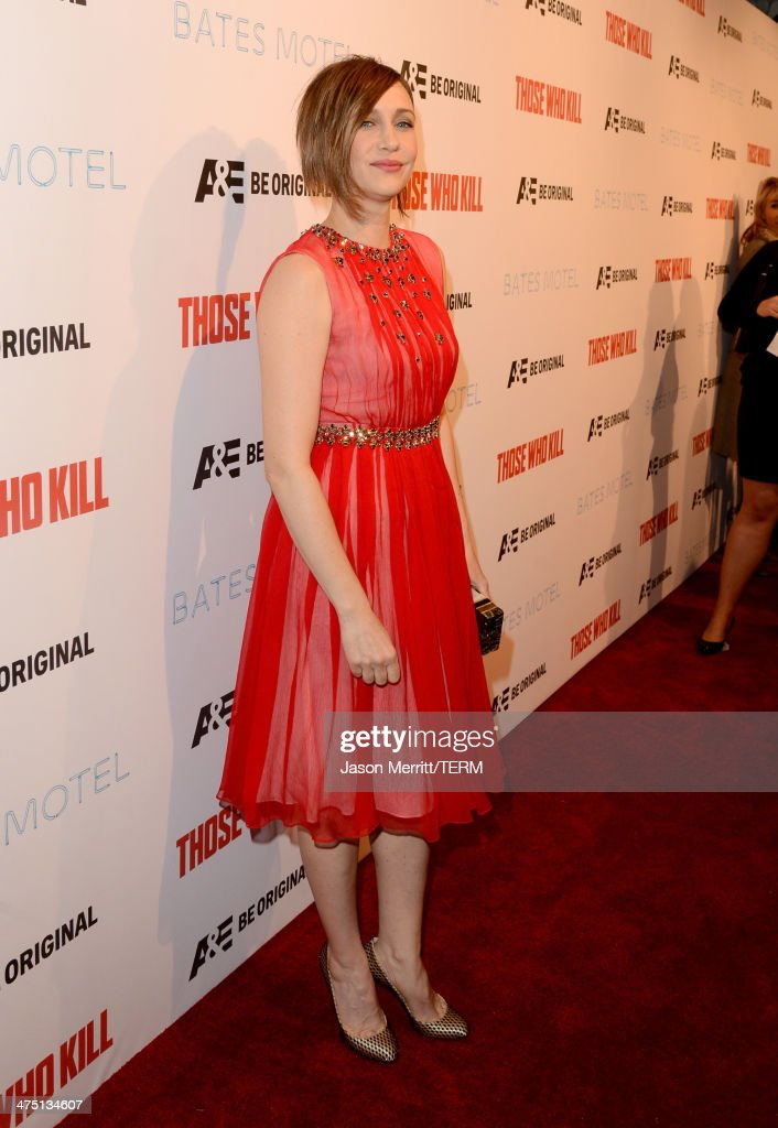 Actress <a gi-track='captionPersonalityLinkClicked' href=/galleries/search?phrase=Vera+Farmiga&family=editorial&specificpeople=227012 ng-click='$event.stopPropagation()'>Vera Farmiga</a> attends A&E's 'Bates Motel' and 'Those Who Kill' Premiere Party at Warwick on February 26, 2014 in Hollywood, California.
