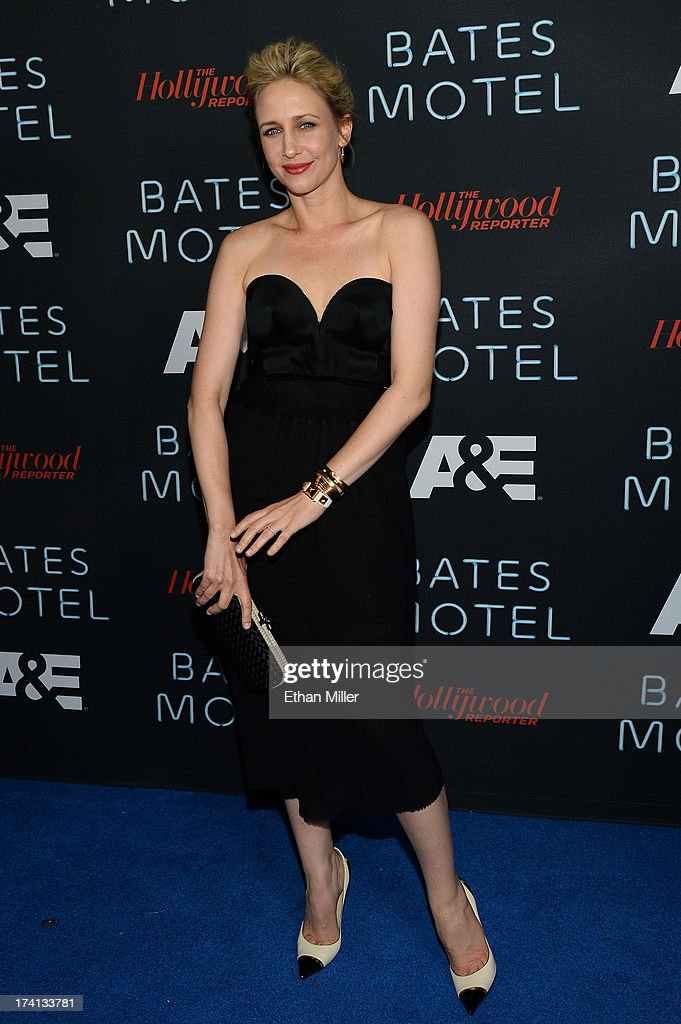 Actress <a gi-track='captionPersonalityLinkClicked' href=/galleries/search?phrase=Vera+Farmiga&family=editorial&specificpeople=227012 ng-click='$event.stopPropagation()'>Vera Farmiga</a> attends A&E's 'Bates Motel' party during Comic-Con International 2013 at Gang Kitchen on July 20, 2013 in San Diego, California.