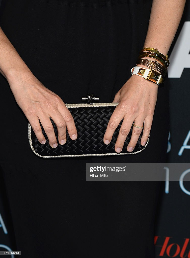 Actress Vera Farmiga (purse detail) attends A&E's 'Bates Motel' party during Comic-Con International 2013 at Gang Kitchen on July 20, 2013 in San Diego, California.
