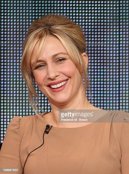 Actress Vera Farmiga speaks onstage during the 'Bates Motel' panel discussion at the AE Network portion of the 2013 Winter TCA Tourduring 2013 Winter...