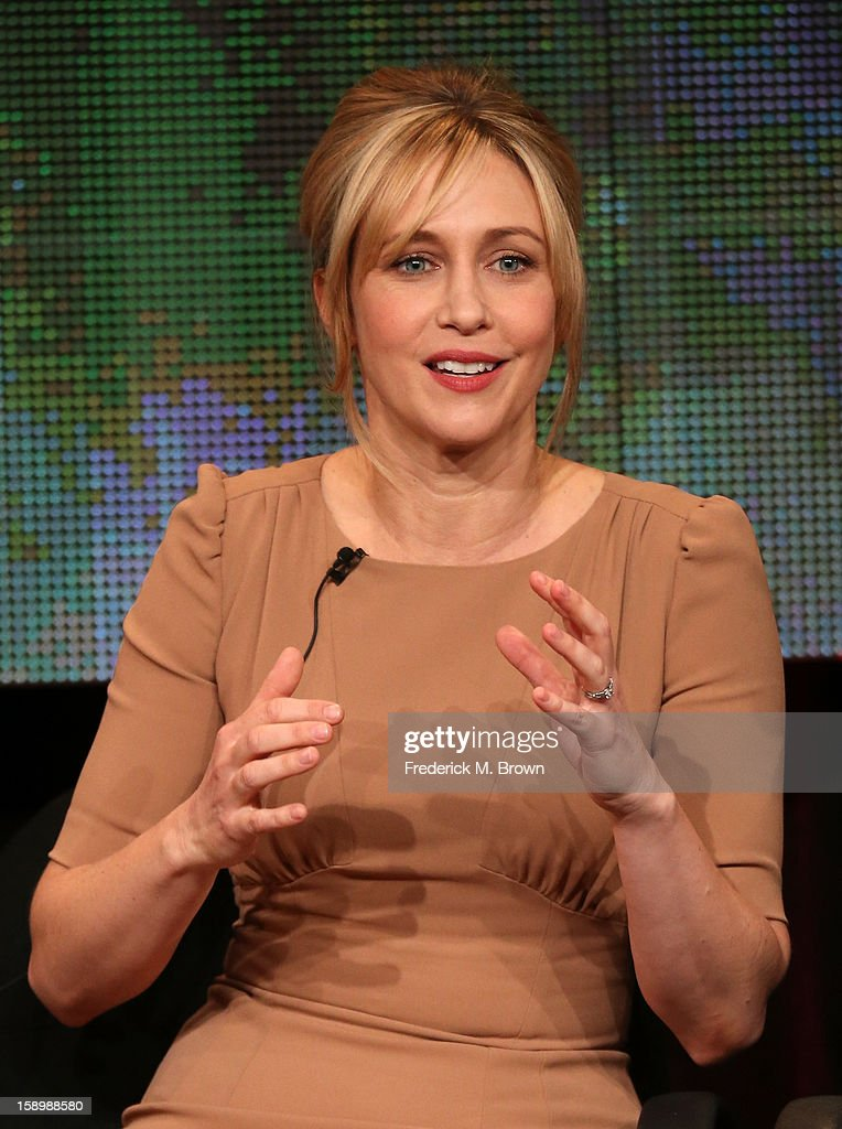 Actress <a gi-track='captionPersonalityLinkClicked' href=/galleries/search?phrase=Vera+Farmiga&family=editorial&specificpeople=227012 ng-click='$event.stopPropagation()'>Vera Farmiga</a> speaks onstage during the 'Bates Motel' panel discussion at the A&E Network portion of the 2013 Winter TCA Tourduring 2013 Winter TCA Tour - Day 1 at Langham Hotel on January 4, 2013 in Pasadena, California.