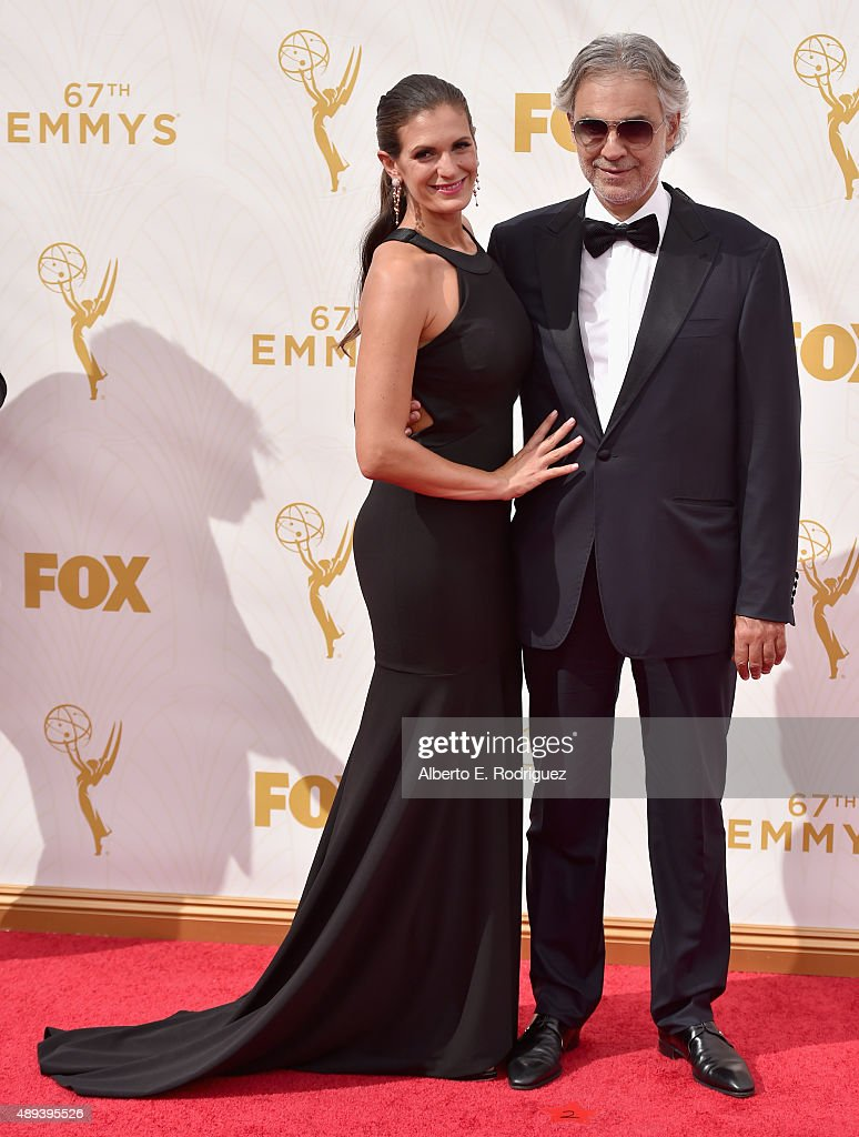 Actress Veronica Berti (L) and recording artist Andrea Bocelli attend the 67th Emmy Awards at Microsoft Theater on September 20, 2015 in Los Angeles, California. 25720_001