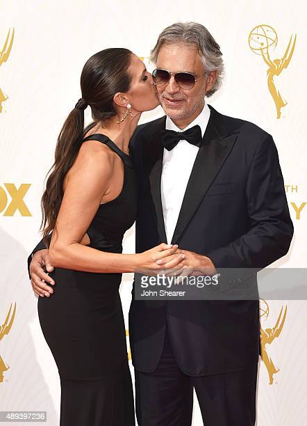 Actress Veronica Berti and recording artist Andrea Bocelli attend the 67th Annual Primetime Emmy Awards at Microsoft Theater on September 20 2015 in...