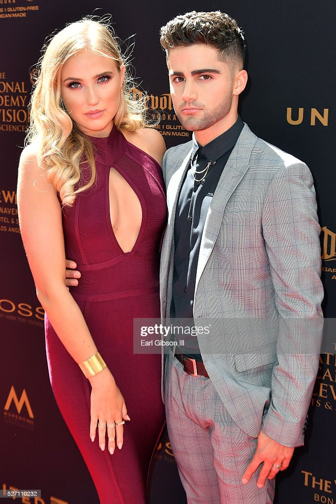 Actress Veronica Dunne (L) and actor Max Ehrich arrive at the 43rd Annual Daytime Emmy Awards at the Westin Bonaventure Hotel on May 1, 2016 in Los Angeles, California.