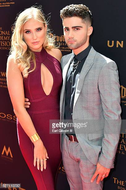 Actress Veronica Dunne and actor Max Ehrich arrive at the 43rd Annual Daytime Emmy Awards at the Westin Bonaventure Hotel on May 1 2016 in Los...