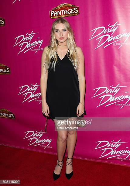 Actress Veronica Dunne attends the opening night of 'Dirty Dancing The Classic Story On Stage' at the Pantages Theatre on February 2 2016 in...
