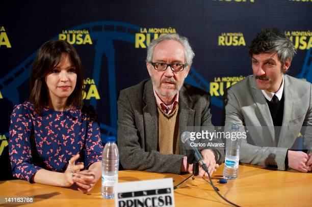 Actress Veronica Sanchez director Emilio Martinez Lazaro and actor Ernesto Alterio attend 'La Montana Rusa' press conference at Princesa cinema on...