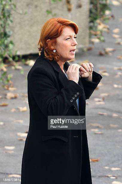 Actress Veronique Genest is sighted on the location for 'Julie Lescaut' on November 23 2011 in Paris France
