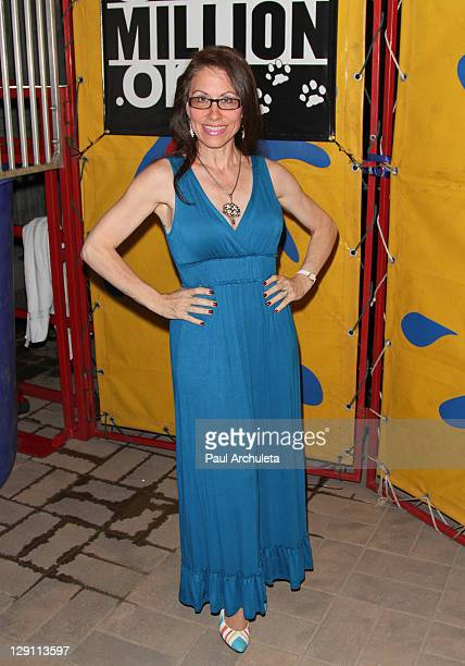 Actress Vicki Roberts arrives at the 600millionorg dunking for dogs charity event at Ecco Ultra Lounge on October 12 2011 in Los Angeles California