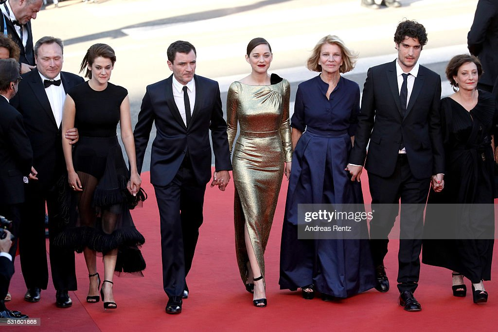 Actress Victoire Du Bois, actor Alex Brendemuhl, actress Marion Cotillard, director Nicole Garcia, actor Louis Garrel and actress Brigitte Rouan attend the 'From The Land Of The Moon (Mal De Pierres)' premiere during the 69th annual Cannes Film Festival at the Palais des Festivals on May 15, 2016 in Cannes, France.