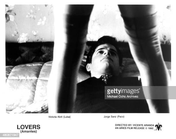 Actress Victoria Abril and actor Jorge Sanz in a scene from the movie 'Lovers' circa 1991