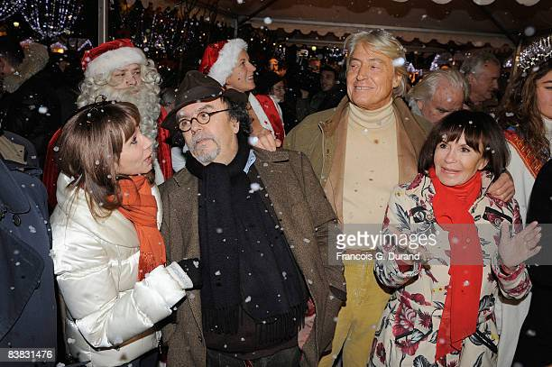 Actress Victoria Abril director JeanMichel Ribes Pierre Cornette de SaintCyr and actress Daniele Evenou attend the opening of Champs Elysees first...