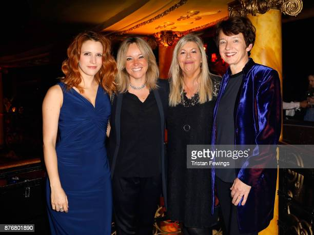 Actress Victoria Broom guest Jacqueline Lawrence and Getty CEO Dawn Airey attend the annual National Youth Theatre national fundraiser at Cafe de...