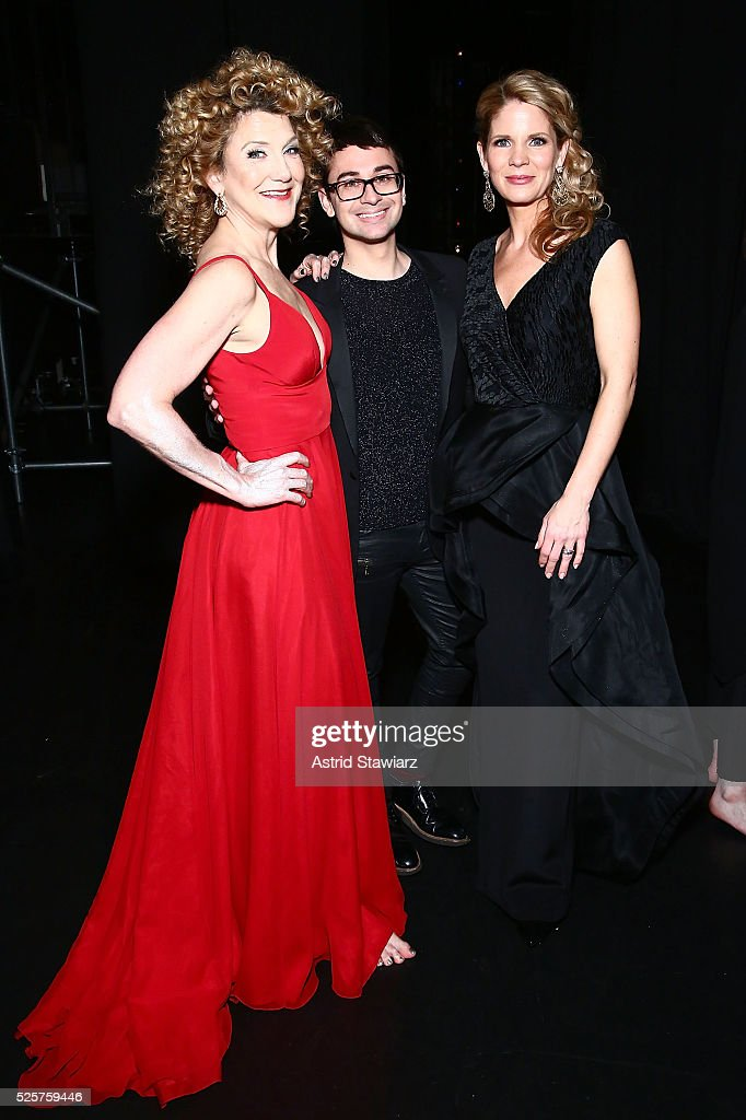 Actress Victoria Clark fashion designer Christian Siriano and actress Kelli O'Hara attend Master Voices 2016 Spring Benefit and Concert at New York...
