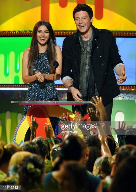 Actress Victoria Justice and actor Cory Monteith speak onstage during Nickelodeon's 2011 Kids' Choice Awards at Galen Center on April 2 2011 in Los...
