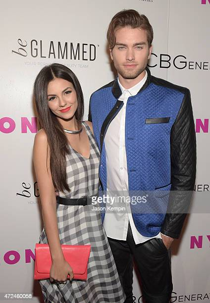 Actress Victoria Justice and actor Pierson Fode attend the NYLON Young Hollywood Party presented by BCBGeneration at HYDE Sunset Kitchen Cocktails on...
