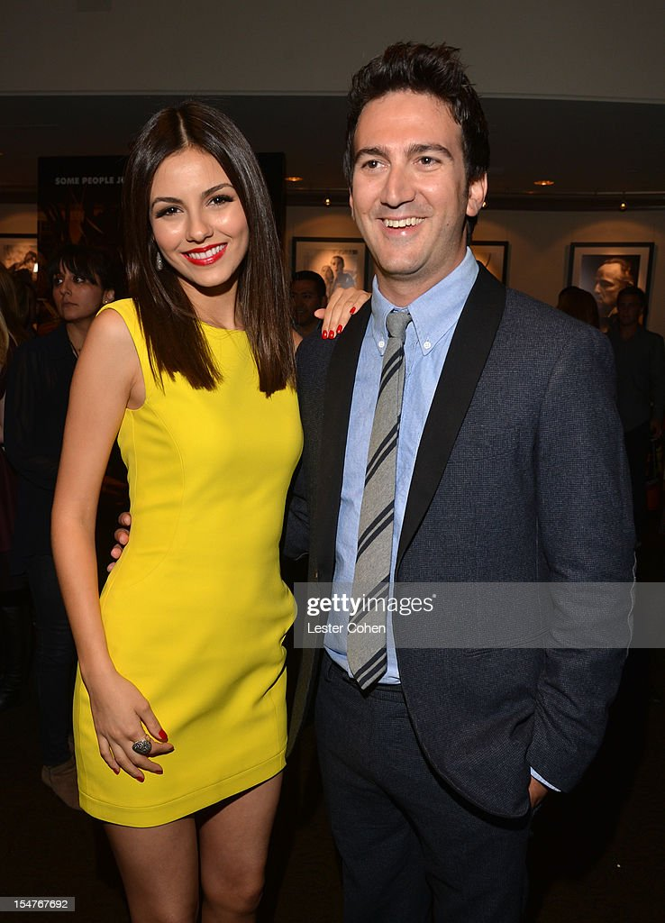 Actress Victoria Justice and director/producer Josh Schwartz arrive at the Los Angeles premiere of 'Fun Size' at Paramount Studios on October 25 2012...